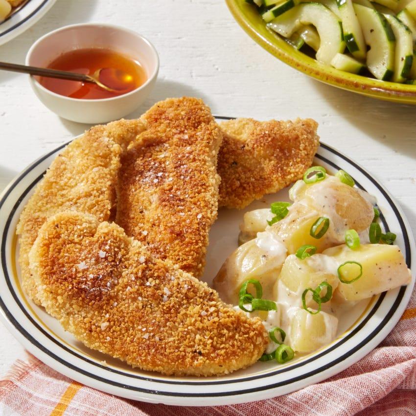 Crispy Chicken Tenders & Hot Honey with Potato Salad & Marinated Cucumber