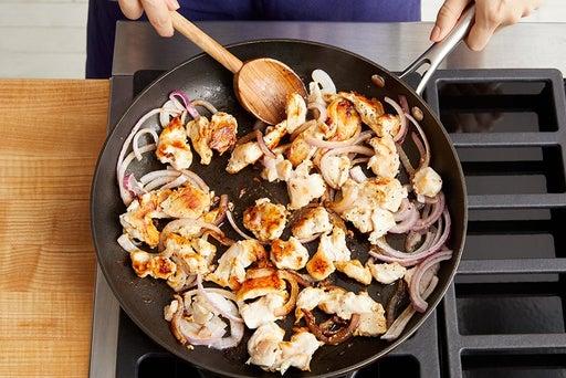 Start the chicken & onion: