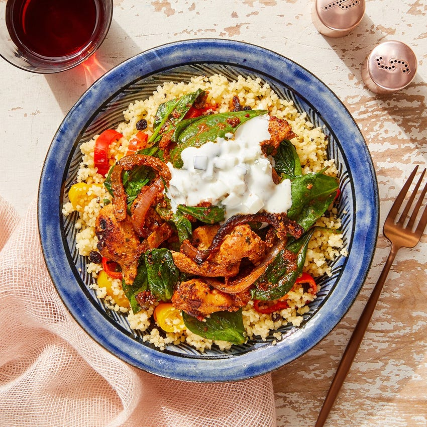 Romesco Chicken & Spinach with Pepper Couscous & Tzatziki