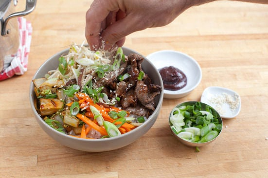 Assemble the bibimbap: