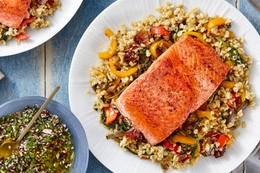 Salmon & Freekeh Salad with Sweet Peppers, Dates, & Olives