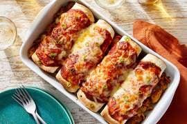 Cheesy Chicken Enchiladas with Guajillo Pepper Sauce