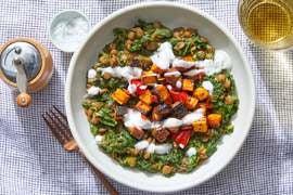 Coconut Curry Lentils & Kale with Roasted Sweet Potato & Garlic Yogurt