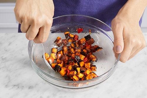 Finish the sweet potato & serve your dish: