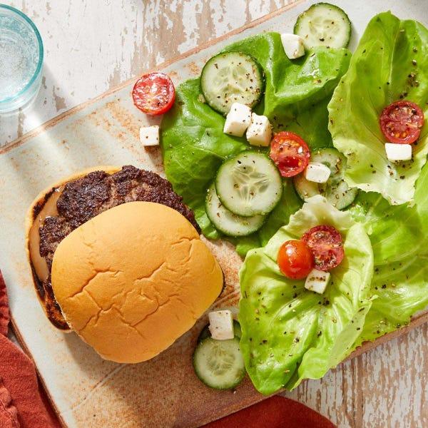Balsamic Burgers with Mozzarella, Tomato & Cucumber Salad