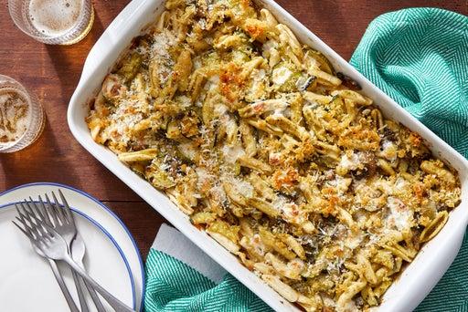 Cheesy Pesto Baked Cavatelli with Zucchini & Mushrooms
