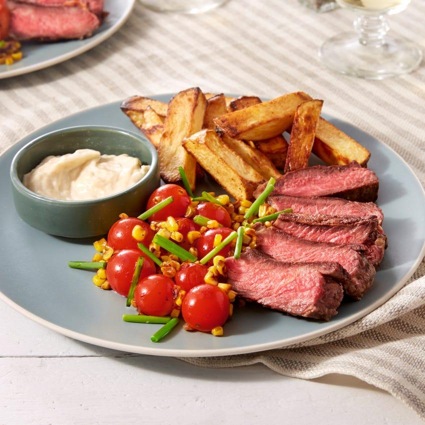 Pan-Seared Steak & Oven Fries with Cherry Tomato & Corn Salad