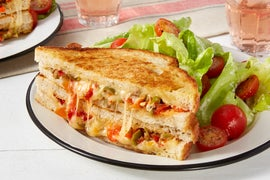 Olive & Pepper Grilled Cheese Sandwiches with Butter Lettuce & Cherry Tomato Salad