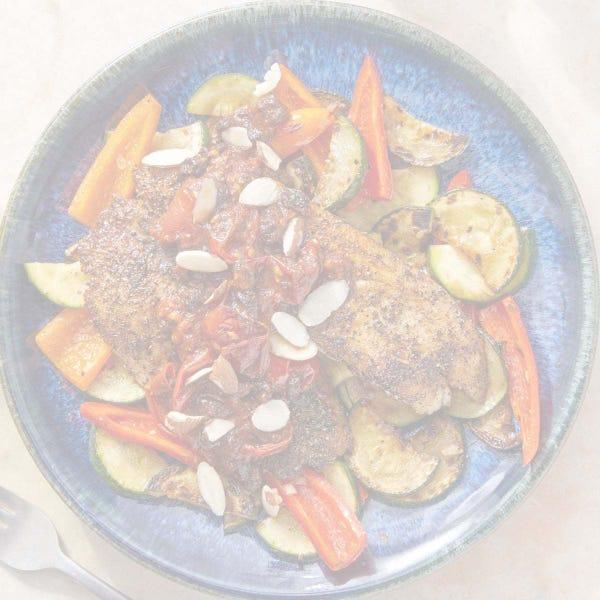 Discontinued Za'atar-Spiced Tilapia with Sautéed Vegetables & Tomato Pan Sauce