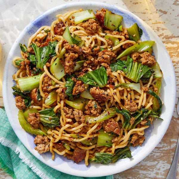 Pork Lo Mein with Vegetables & Sesame Seeds