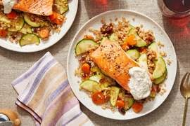 Seared Salmon over Farro with Dates, Zucchini & Garlic Labneh