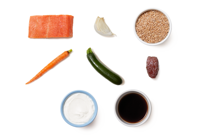 Seared Salmon over Farro with Dates, Zucchini & Garlic Labneh