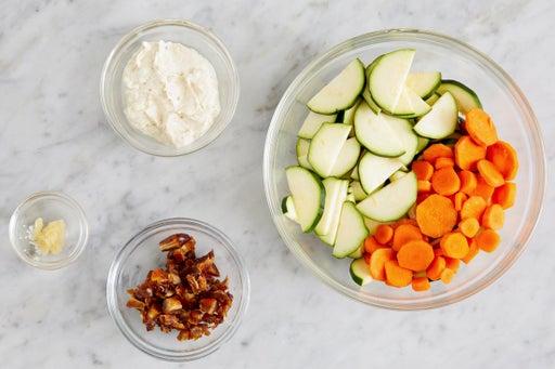 Prepare the ingredients & make the garlic labneh: