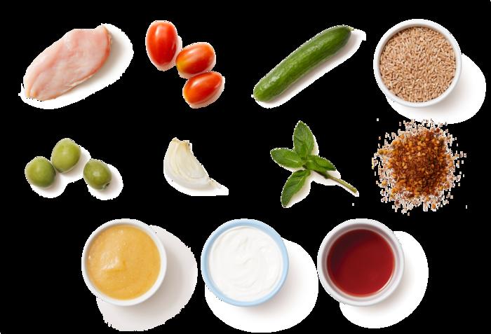Za'atar-Spiced Chicken & Farro Salad with Lemon-Garlic Yogurt