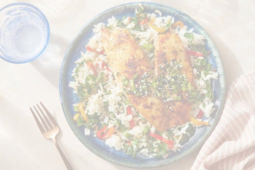 Southern-Spiced Fish with Sesame-Scallion Sauce & Vegetable Rice