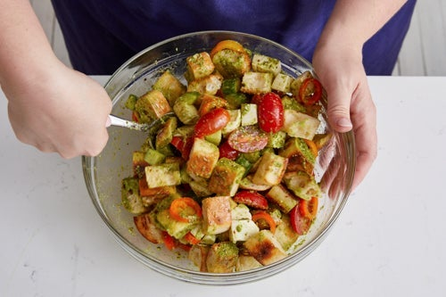 Finish the panzanella & serve your dish: