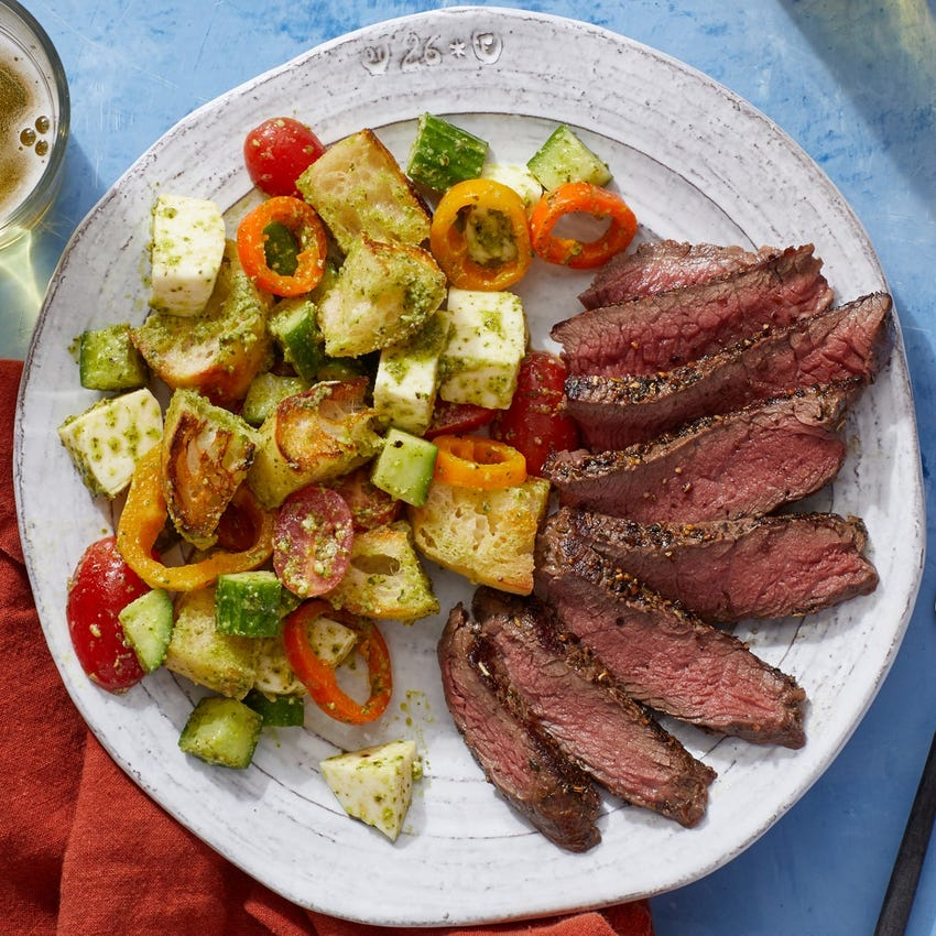 Italian Steaks & Panzanella with Mozzarella, Tomatoes & Pesto