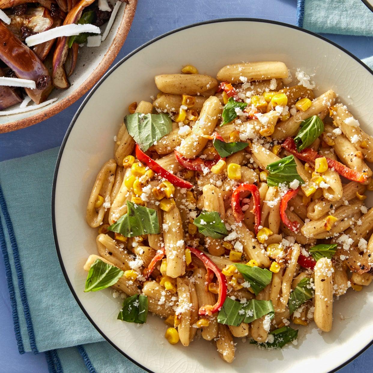 Fresh Cavatelli & Spicy Corn with Fairy Tale Eggplants, Currants, & Ricotta Salata