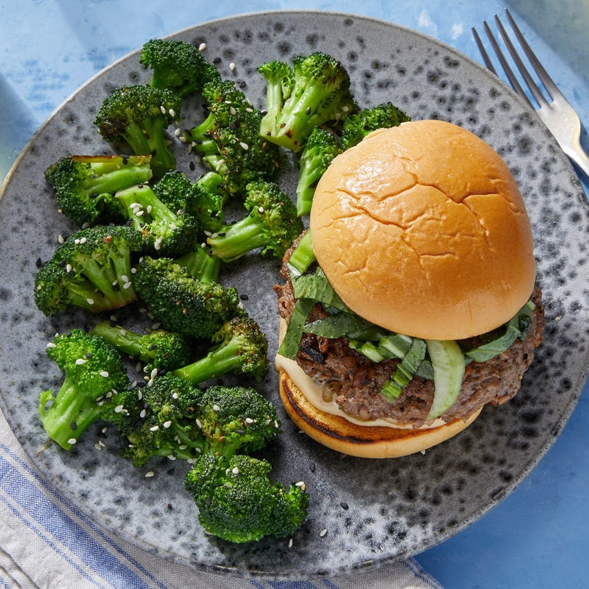 Shiitake & Hoisin Beef Burgers with Miso Mayo & Bok Choy