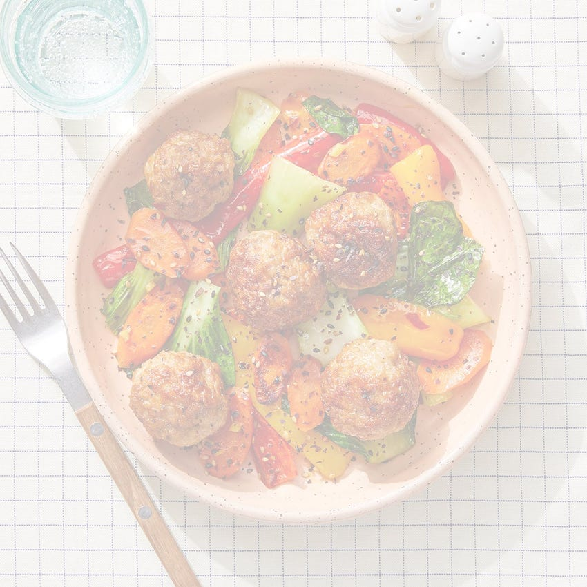 Orange-Glazed Turkey Meatballs with Carrots & Sweet Peppers