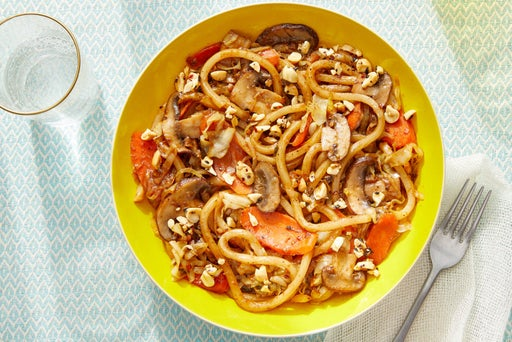 One-Pan Vegetable Udon with Togarashi Peanuts