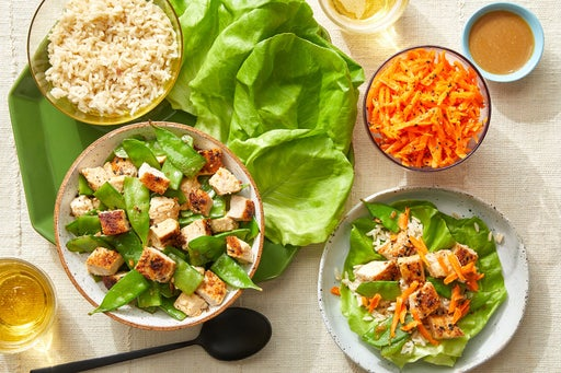 Chicken & Brown Rice Lettuce Cups with Tahini-Soy Sauce