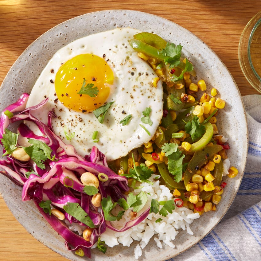 Coconut Rice Bowls & Sunny Side-Up Eggs with Corn & Islander Pepper