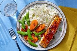 Seared Salmon & Sweet Chili Glaze with Aromatic Rice & Sautéed Vegetables
