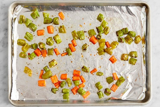 Roast the carrots & shishito peppers: