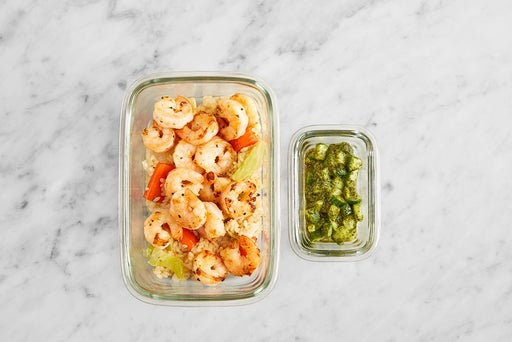 Assemble & Store the Shrimp & Cucumber-Cilantro Sauce:
