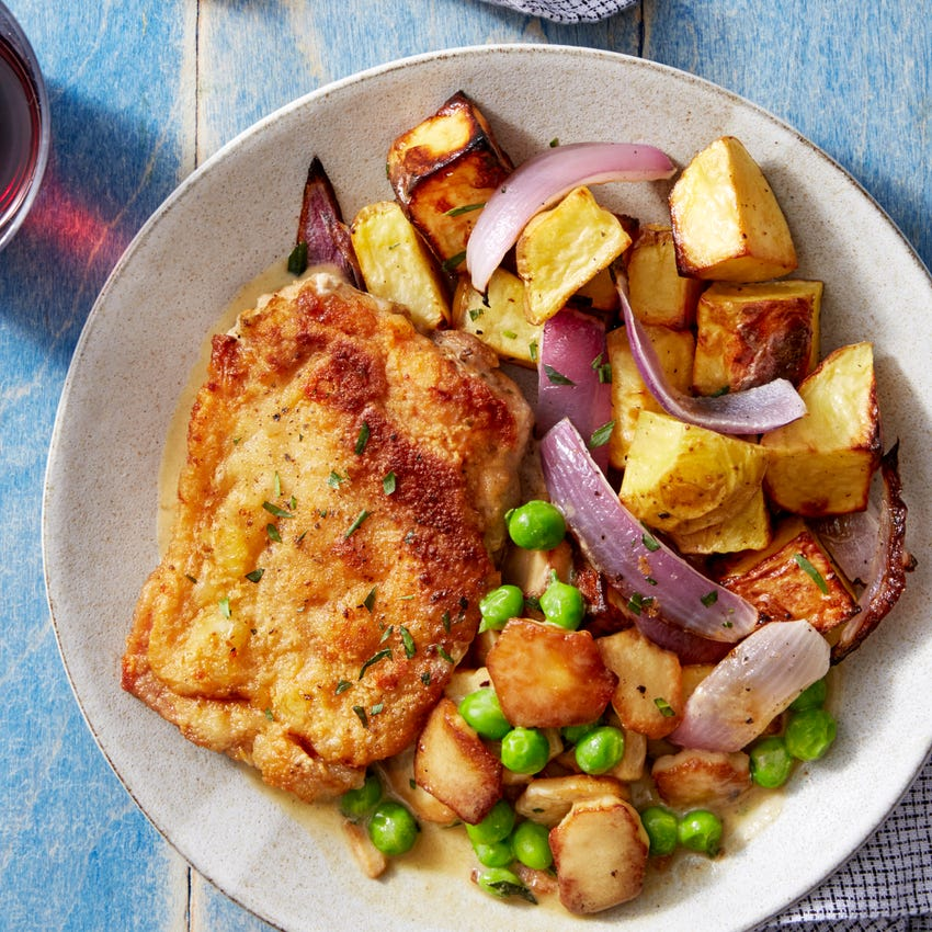 Tarragon & Mustard Chicken with English Peas & King Trumpet Mushrooms