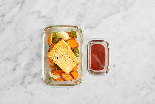 Assemble & Store the Tofu & Spicy BBQ Sauce: