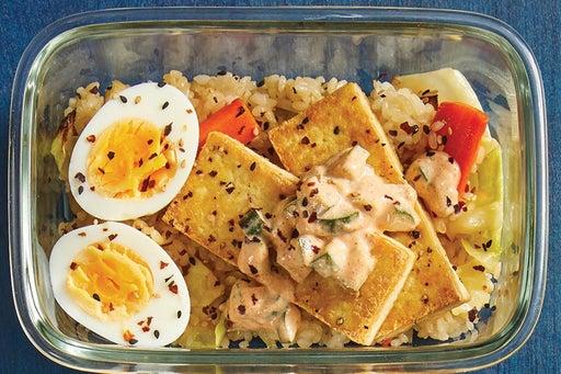 Finish & Serve the Seared Tofu & Vegetable Rice:
