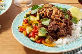 Sweet & Spicy Beef with Jasmine Rice & Crispy Shallot