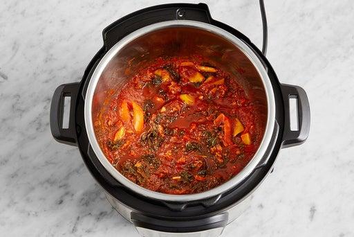 Cook the sausage & make the sauce: