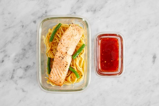 Assemble & Store the Roasted Salmon & Lo Mein: