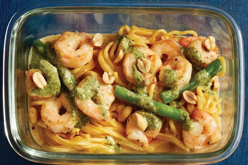 Finish & Serve the Coconut Curry Shrimp & Noodles: