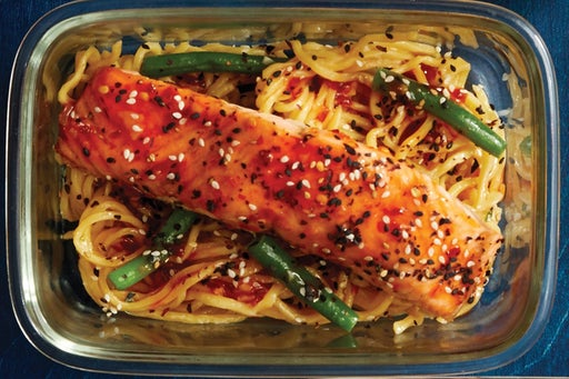 Finish & Serve the Roasted Salmon & Lo Mein: