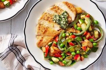 Basil Pesto Chicken with Summer Vegetable Panzanella