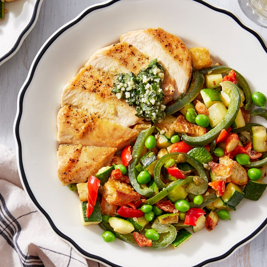 Basil Pesto Chicken with Summer Vegetable Panzanella