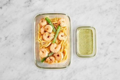 Assemble & Store the Coconut Curry Shrimp  & Noodles: