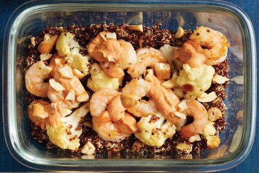 Finish & Serve the Seared Shrimp & Quinoa: