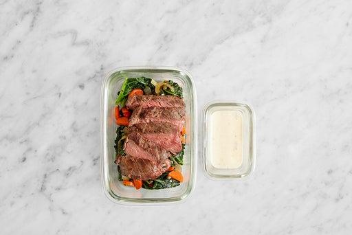 Assemble & Store the Seared Steak & Lemon Mayo: