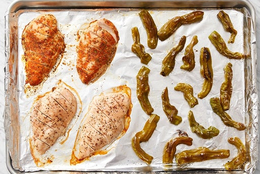 Roast the chicken & shishito peppers: