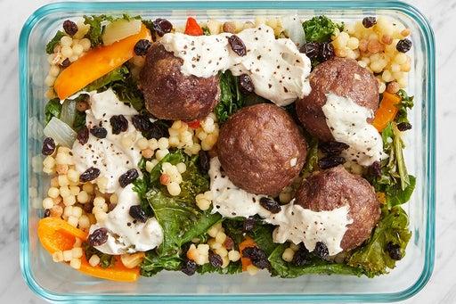 Finish & Serve the Meatballs & Fregola Sarda Pasta: