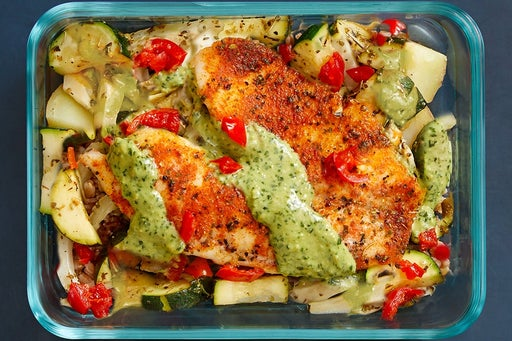 Finish & Serve the Roasted Tilapia & Vegetables: