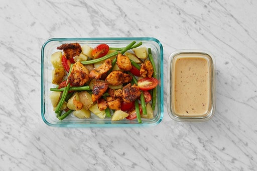 Assemble & Store the Spiced Chicken & Potato Salad: