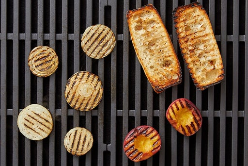 Grill the peach, onion & baguette: