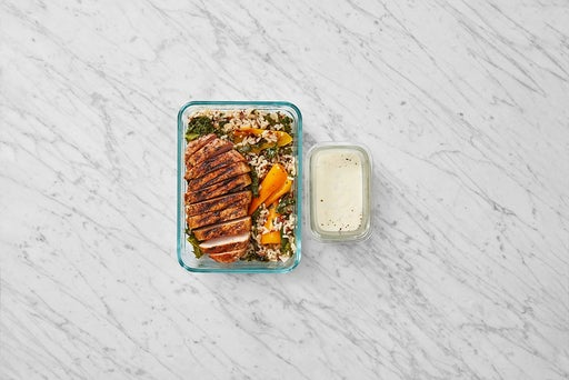 Assemble & Store the Grilled Pork & Red Rice Salad:
