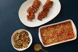 Tim Hollingsworth's BBQ-Glazed Strip Steaks with Smoky Baked Beans & Zucchini